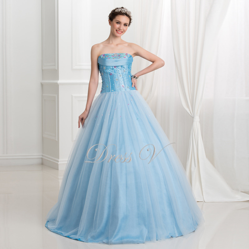Real Photo Light Blue Quinceanera Dresses 2016 Tulle Sequins