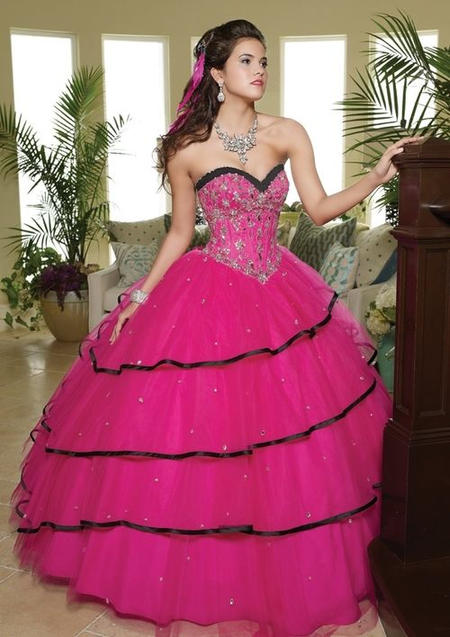 Pink And Black Quinceanera Dress Fashion Ball Gowns Dresses Prom