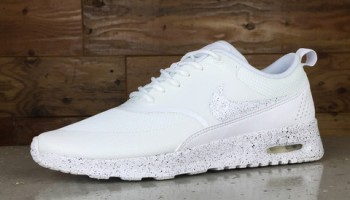 Nike Air Max Thea Running Shoes By Glitter Kicks - White White Black Paint f3136a15bc76