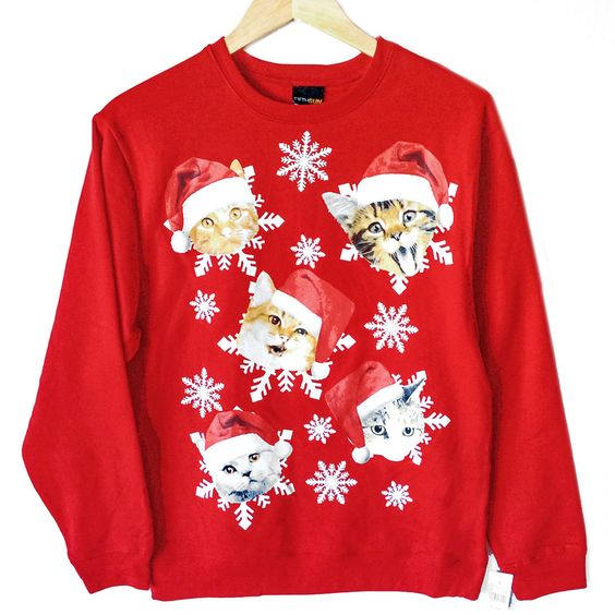 Cat Christmas Sweater.Crazy Cats Cat Ugly Christmas Sweater Ugly Cat Christmas